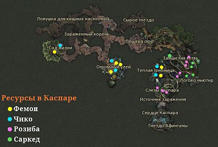Карта внутренней части каспара в aion