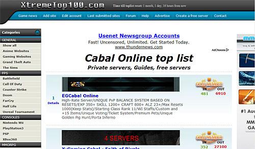 Пример топа пиратских серверов кабала онлайн