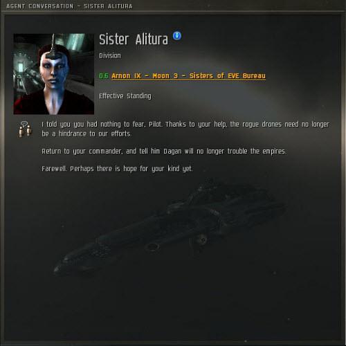 Окно разговора агента с вами в Eve online