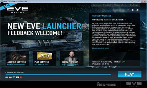Новый лаунчер игры Eve online