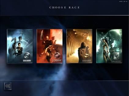 Четыре расы для выбора в игре Eve online