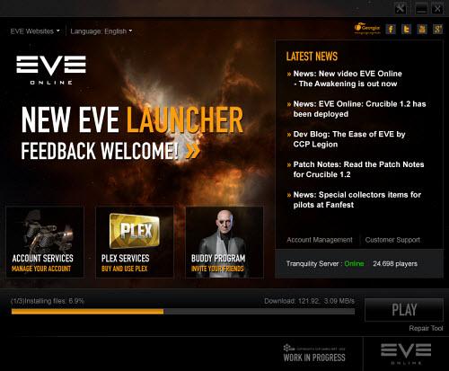 Новый лаунчер Eve online