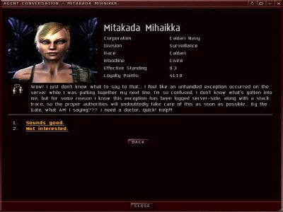 Окно диалога с агентом в Eve online