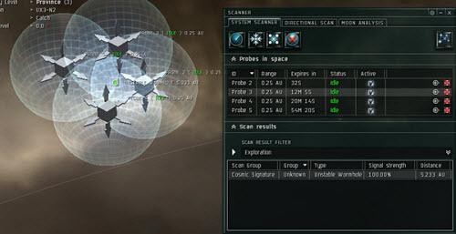Окно управления пробками в Eve online