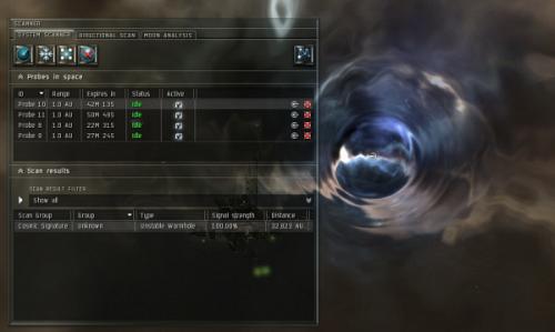 Вормхол, найденный при сканировании в Eve online
