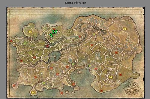 Карта обитания флинда-лучника в r2 online