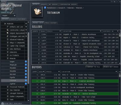 Так выглядит рынок в Eve online